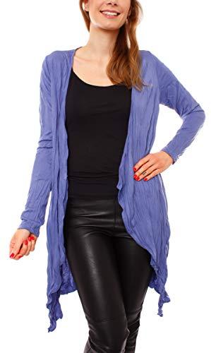 Easy Young Fashion Damen Jacke Cardigan Wasserfall Lang Asymmetrisch Jersey Zipfeljacke Strickjacke Offen Jeansblau S M 36 38