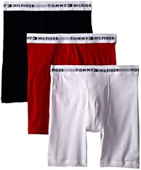 Three-pack of Tommy Hilfiger boxer briefs, each featuring logoed waistband and front pouch Packs are available in assorted colors Three-pack of classic fit boxer briefs Provides a durable, cotton hand feel