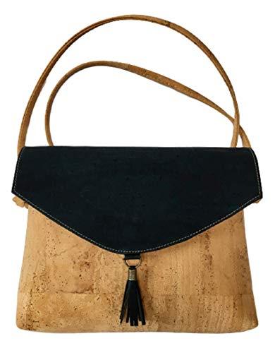 Kaibe Bolso de corcho bandolera para mujer con estampado y borla (azul marino)