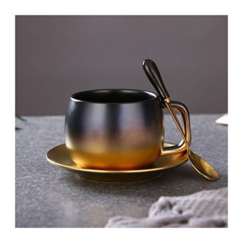 jbshop Tazas Desayuno Taza de té de cerámica Taza de café de gradiente de Oro de 9,5 onzas de café Copas/té for Oficina y Hogar Tazas (Color : Black Gold Gradient)
