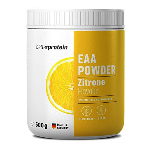 EAA Pulver Zitrone Zero 500g - Made in Germany & Laborgeprüft - BetterProtein® - alle essentiellen Aminosäuren zum Muskelaufbau und Abnehmen - Vegan - Beutel