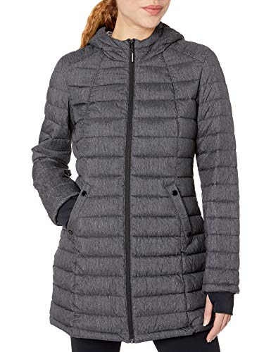 HFX Women's 3/4 Length Stretch Puffer Jacket, Scratch Print/Pebble, Small