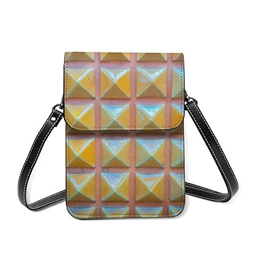 Bolso de cuero para mujer, bolso de hombro, color abstracto, digital lindo, cartera de viaje con titular de la tarjeta, color Rosa, talla Talla única