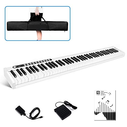 Vangoa VGD881 Piano Keyboard 88 Key, Portable Touch Sensitive Electronic Keyboard Piano Rechargeable with Wireless Connection, Sustain Pedal and Padded Bag for Kids Adults Beginners, White