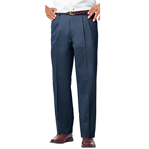 Blue Generation BG8000P - Men's Teflon Treated Twill Pleated Front Pants (31W x 32L, Navy)