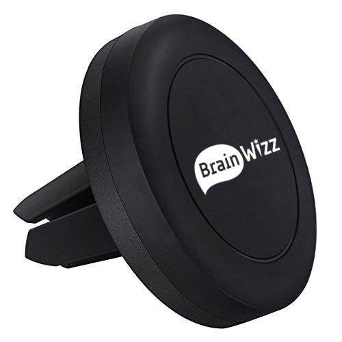 BRAINWIZZ Vent Magnet - Supporto Magnetico Auto Universale/Supporto Auto Smartphone Porta Telefono per iPhone 7/6/ 6s/ 5s/ 5c/ 5/ Sony Xperia/Samsung Galaxy s6 / Huawei/Xiaomi/One Plus etc. (Nero)