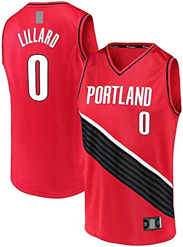 jiaju Ropa Damian De Manga Corta Lillard Al Aire Libre Portland Baloncesto Jersey Trail Ropa Blazers # 0 Break Fast Jersey Red - Declaración Edición-L (Color : Red, Size : S)