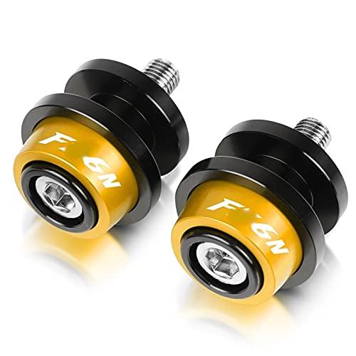 XRSM para Y-amaha FZ6 FAZER FAZER600 FZ6S FZ6N FZ6S2 FZ6R S2 SJ6S FZ600 Tornillos De Soporte De Motocicleta Carretes Deslizantes De Brazo Oscilante De 6 MM (Color : Gold)