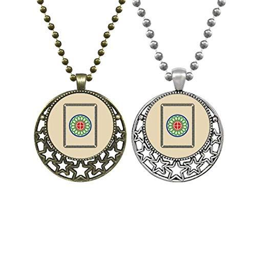 Mahjong Circle Dots - Collar con colgante retro con diseño de lunares, 1 baldosa