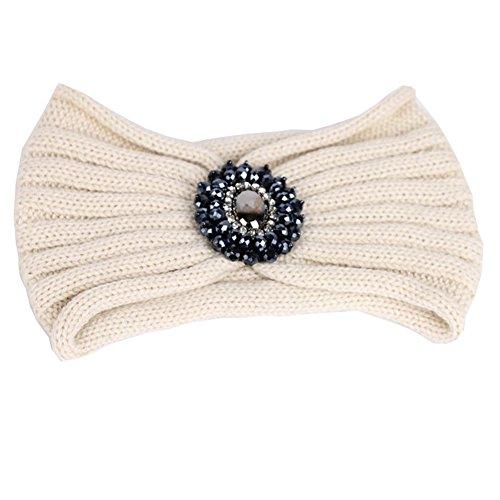 TININNA Serre-tête Bandeau Bande de Cheveux Laine Tricoté Turban Elastique Couvre-Oreille Head Wrap Chapeaux avec des Pierres pour Femme Fille Beige