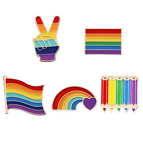 FDSIOXKF Juego de 5 alfileres de solapa de arco iris de orgullo gay LGBTQ gay lesbianas alfileres coloridos esmaltados con esmalte Love is Love LGBTQ para decoración de ropa y bolsas