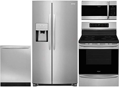 """Frigidaire 4-Piece Kitchen Appliance Package with FGSS2335TF 33"""" Side by Side Refrigerator FGIF3036TF 30"""" Freestanding Induction Range FGMV176NTF 30"""" Over-the-Range Microwave and FGID2466QF 24"""" Fully Integrated Dishwasher in Stainless Steel"""