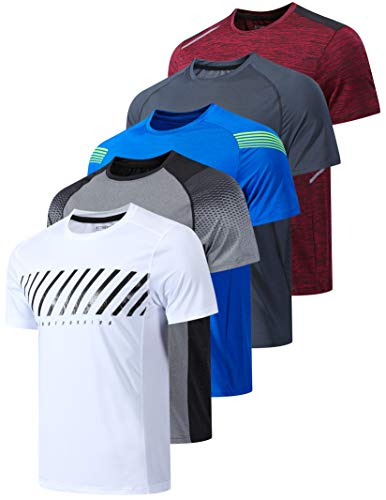 5 Pack Men's Active Quick Dry Crew Neck T Shirts | Athletic Running Gym Workout Short Sleeve Tee Tops Bulk (Edition 2, Large)