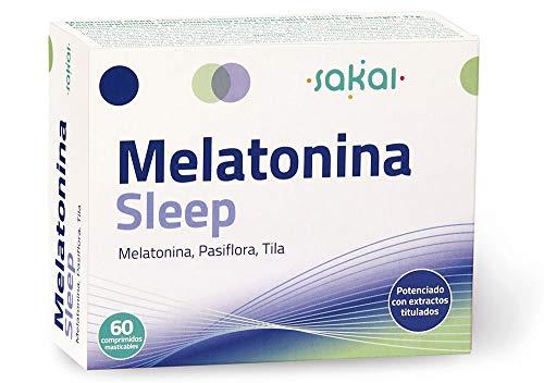 Sakai - Melatonina Sleep, 60 comprimidos masticables. Conciliación rápida del Sueño con efecto Duradero. Melatonina, Pasiflora y Tila. 1,9mg de Melatonina por comprimido.