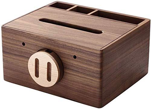 UCYG madera sostenedor de la toalla de papel rectangular, caja de almacenamiento dispositivo de control remoto multifuncional sólido de toallas de papel de madera, soporte for teléfono móvil (color, n