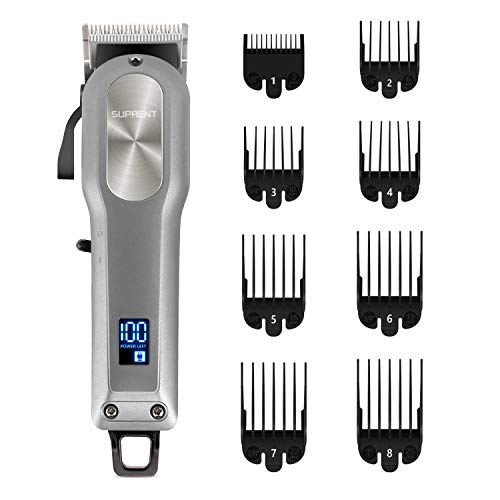 Cordless Hair Clippers for Men SUPRENT, Professional Hair Cutting Kit with 2000mAh Lithium Ion, Titanium Ceramic Blade, Hair Trimmer with Lock-In Length (Silver)
