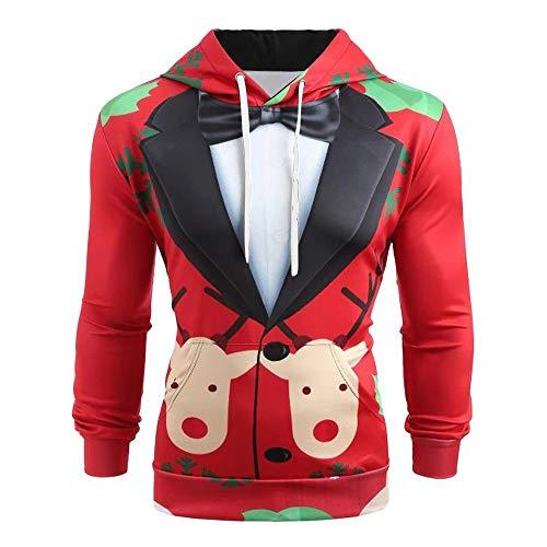 Felpa Buon con NataleRegalo Felpa Cappuccio 3D Stampa con di Lunga Vestito Manica Zolimx Modello da Cardigan Natale Cappuccio Pullover Uomo Uomo Top D29IYWHE