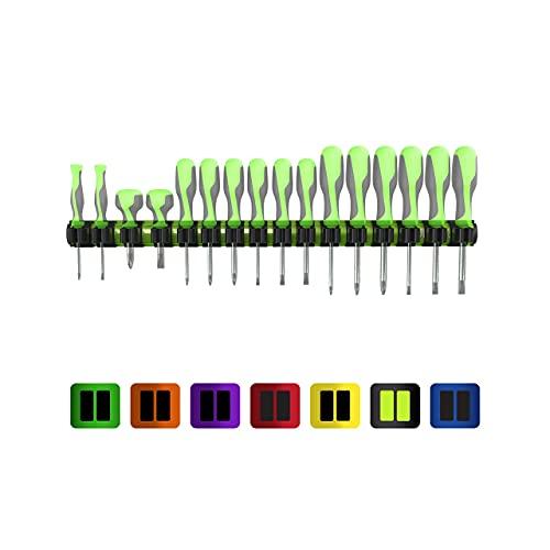 Olsa Tools - Organizador magnético para herramientas de alta calidad, compatible con hasta 16 destornilladores, color verde