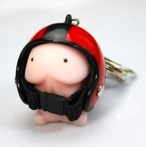 yqs Llavero Novedad Spoof Tricky Funny Gadgets Juguetes Ventilación Toda la multitud de estrés Ball Casco Pequeño Animal Llavero Lindo Llavero de Silicona Rojo