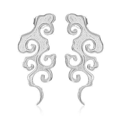 Lotus Fun S925 Sterling Silber Ohrringe Ursprüngliche Sonnenuntergang Wolke Tropfen Ohrringe Chinesischer Stil Kreativ Handgemachter Einzigartiger Schmuck für Frauen und Mädchen (Silber)