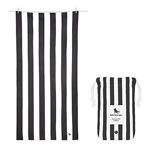 Dock & Bay Beach Towel - Quick Dry, Sand Free - Compact, Lightweight - 100% Recycled - Includes Bag - Cabana - Kamari Charcoal -...
