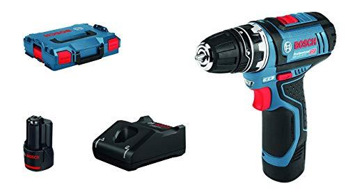 Bosch Professional 12V System Akku Bohrschrauber GSR 12V-15 FC (inkl. 2 x 2,0 Ah Akku, Schnellladegerät, Bohrfutteraufsatz, L-BOXX)