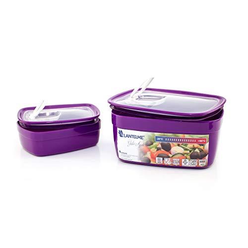 Lantelme Mikrowellenschüssel Set rechteckig 2 Tlg Spülmaschinenfest Kunststoff Schüssel Mikrowelle violett weiß 4507
