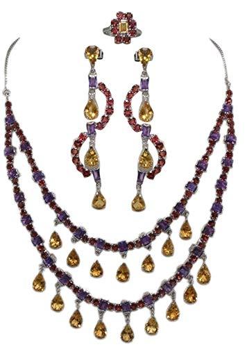 Rajasthan Gems - Set di orecchini e collana in argento Sterling 925 con ametista granato e topazio