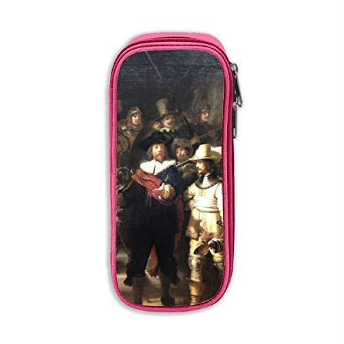 De Nacht Horloge Rembrandt Unisex Oxford Doek Potlood Case Office School Bureau Potlood Tas met Rits Eén maat roze
