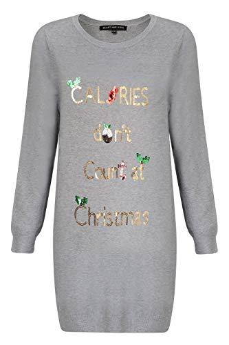 "Heart And Soul Damen-Weihnachtspullover, Kalorien- oder ""All I want""- oder ""Prosecco""-Motiv, Tunika-Stil Gr. 34, Weihnachts-Kalorien – Grau"