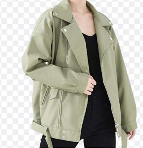 SHADIOA Chaqueta de Cuero sintética Mujeres Casual PU Chaquetas de Motocicleta Sueltas Femeninas Streetwear Abrigo de Gran tamaño,Verde,XS