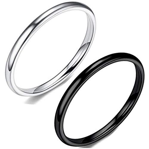 銀黒2点セット売り 幅2mm 金属アレルギー対応 肌に優しい サ ージカル ステンレス 指輪 メンズ レディース カップル ペアリング キュービックジルコニア 婚約指輪 結婚指輪 (銀黒2点セット, 21)