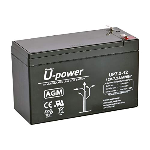Master U-Power Batería Plomo AGM 7.2Ah 12V FASTON F1 4.8mm, UP, MU-UP7.2-12F1