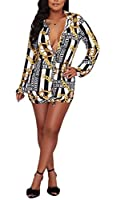 Bluewolfsea Women's Fashion Chain Print Striped Button Down Long Sleeve Loose T-Shirt Blouse Tops Mini Dress X-Large Blue from