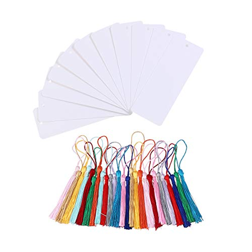 STOBOK 24pcs Blank Paper Bookmarks Cardstock Bookmarks with Tassel (White)