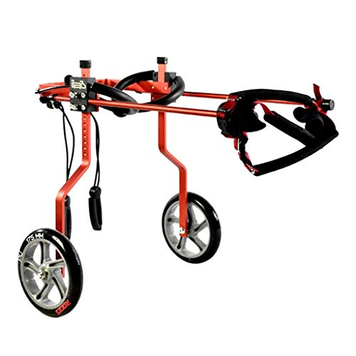 Carrito de cochecito para perros para patas traseras, silla de ruedas para mascotas con soporte ajustable con 2 ruedas para patas traseras / pies, reparación postoperatoria para gatos discapacitados