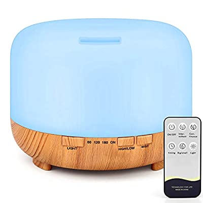 RENWER Essential Oil Diffuser, 500ml Remote Control Diffusers for Essential oils, Ultrasonic Humidifier, Aromatherapy Diffuser with 7 Color Changing LED Lights & Waterless Auto-Off