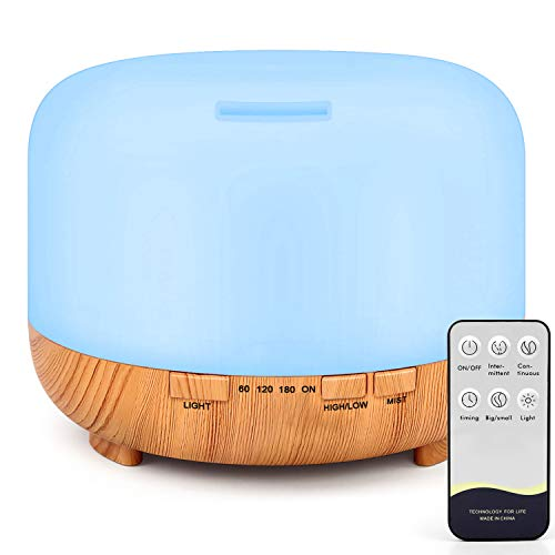 RENWER Essential Oil Diffuser, 500ml Remote Control Diffusers for Essential Oils, Ultrasonic Humidifier Aromatherapy Diffuser with 7 Color Changing LED Lights & Waterless Auto-Off