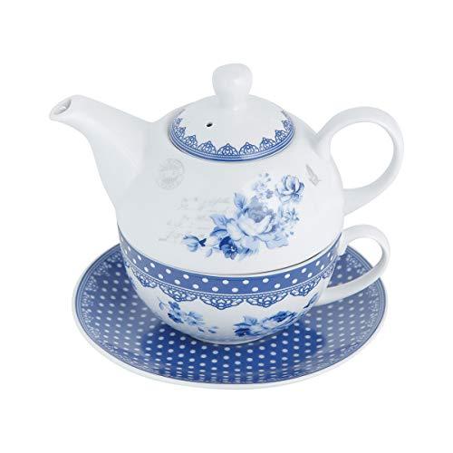 Conjunto 3 Peças para Chá de Porcelana Grécia com Caixa de Presente Lyor Azul/ Branco