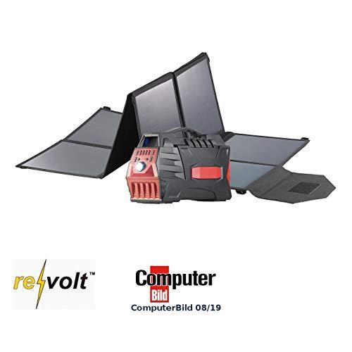 reVolt Solarzelle Powerbank: Powerbank & Solar-Konverter mit faltbarem 100-Watt-Solarpanel, 80 Ah (Stromaggregat Solar)