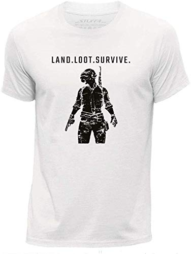KAXIMODUO STUFF4 Men's White Round Neck T-Shirt/PUBG/Land Loot Survive/SZ_WhiteM011
