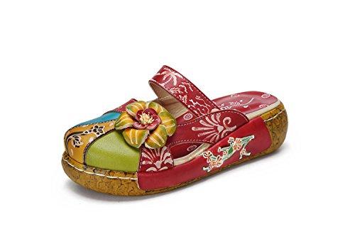 Sandalias de Mujer, Popoti Sandalias de Cuero Zapatillas Mocasines Chanclas de Verano...