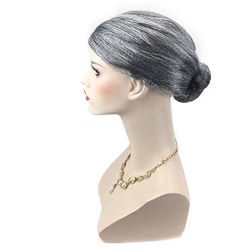 Perruque Femmes Toamen Vieille dame grand-mère granny perruque grise Chignon cheveux Grand Costume soirées