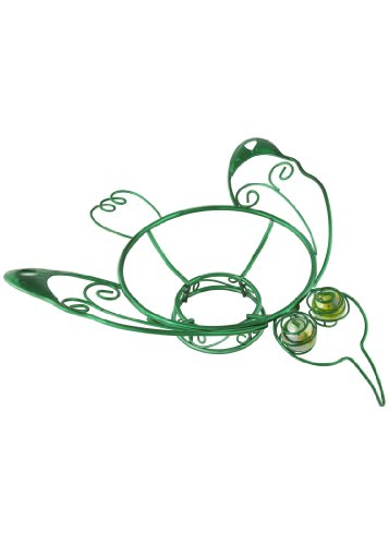 Russco lll GD126504 Green Plated Wire/Metal Metal Gazing Ball Stand, Hummingbird