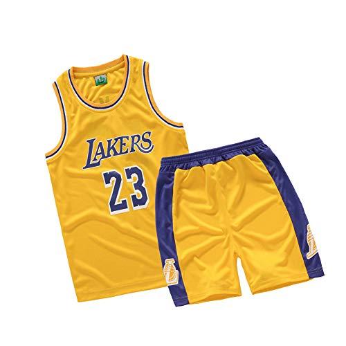 OPOO Jungen Basketball Trikots Sport Team Training Uniform Alter 4-12 Jungen-Mädchen Jugendhemden und Shorts Set Basketball Trikot. Jede Art von Training, Freizeitkleidung-Yellow-XS(110~120cm)