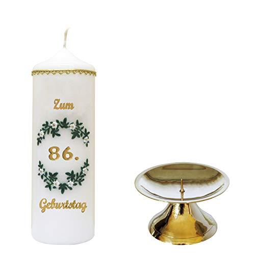 Regina's Onlinehandel selectie met de hand versierde verjaardagskaars 'Voor 86e verjaardag'' * wit * m. gekleurde wax toppers * met kandelaar gemaakt van messing * (motief #004) * selectie motief + kleur