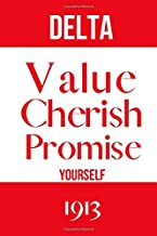 Delta Value Cherish Promise Yourself 1913: Inspirational Quotes Blank Lined Journal