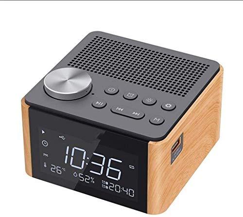 LFSP-batterij werkt Stijlvolle Digitale Wekker LED-display Opladen Via USB, Bluetooth Wireless Home Muziek Wekker Overgewicht Laag Luidspreker, Met Wekkerradio Naast Het Bed Studie