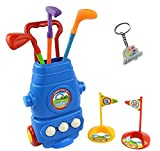 LITTLEFUN Kid Golf Cart Set with 3 Kinds of Clubs 2 Holes 3 Balls Hand-held Tensile Handle Perfect Outdoor...
