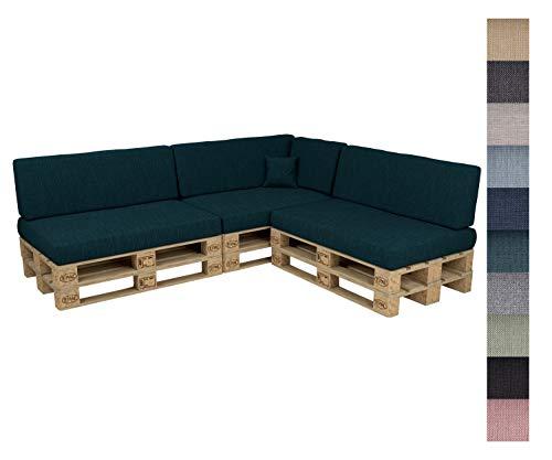 POKAR Euro Pallet Seating Set of 8: 3x seats 120x80cm + 3x back cushions 120x40cm+ 1x side cushion 60x40cm + 1x decorative pillow 40x40cm, cold foam, Garden Furniture, without pallets, black